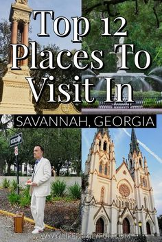 Not only does this city offer so much history but it has so much charm. If youre planning a trip to the area here are the top 12 places I would recommend when visiting Savannah Georgia. Savannah Georgia Travel, Atlanta Travel, Visit Savannah, Savannah Chat, Vacation Quotes, Vacation Trips, Travel Quotes, Fun Places To Go, Places To Travel