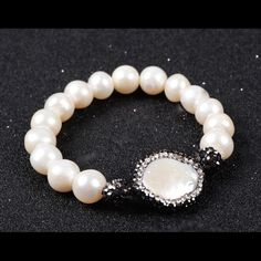 Natural Pearl Stretch Bracelet. Round Natural Pearl and CZ Paved Real Coin Pearl Stretch Bracelet Jewelry Bracelets