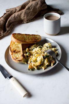 smokey chipotle scrambled eggs with zucchini and mozzarella.