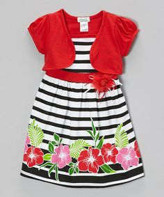 Loving this Red & Black Hibiscus Dress & Shrug - Infant, Toddler & Girls on #zulily! #zulilyfinds