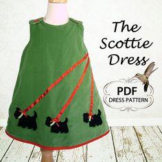 PDF Sewing Pattern, Girls dress pattern, Reversible Dress Pattern, PDF Sewing Pattern, Baby PDF pattern, sewing pattern ,The Scottie Dress. $6.95, via Etsy.