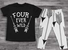 Etsy Boy Clothes 4th Birthday Shirt Four Ever Wild 4th Birthday Boy Shirt 4 year old birthday shirt 4 yea #ad