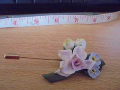"vintage goldtone bone china flower has part missing shown 2.5""long very pretty"