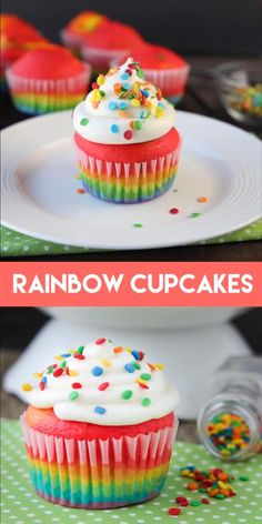These Rainbow Cupcakes are made with a simple boxed white cake mix, colored, and layered to make a rainbow, with whipped cream cheese frosting on top! Rainbow Cupcakes Recipe, Cake Mix Cupcakes, Cupcake Cakes, Fun Fetti Cupcakes, Cupcakes For Girls, Colored Cupcakes, Taco Cupcakes, Carnival Cupcakes, Balloon Cupcakes