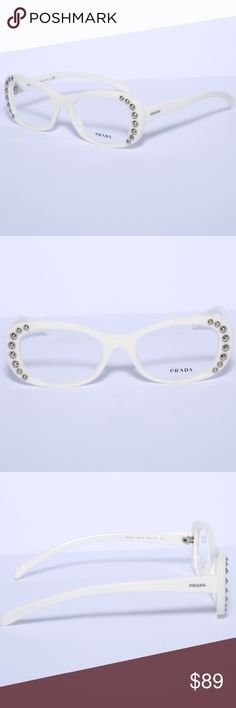0eaf54cd1011 Shop Women s Prada White size Glasses at a discounted price at Poshmark.  Description  PRADA Eyeglasses VPR 140 White Brand new authentic Comes with  Generic ...