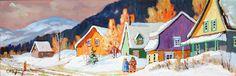 Avec la Voisine by Claude Langevin, Canadian Technique: acrylic on canvas Dimensions: 8x24 in. Price: $2,575 Cdn. Claude, Artist Painting, Dimensions, Fairytale, Exploring, Bali, Art Projects, Landscapes, Canada