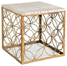 Peck Hollywood Regency Travertine Gold Leaf Iron Cube End Table contemporary side tables and accent tables