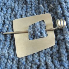 Geometric Shawl Pin or Scarf Pin metal square 2 inch silver tone asymmetric modern handmade. $28.00, via Etsy.