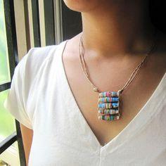 Azul pingente de colar Jóias Reciclado upcycled por PaperMelon