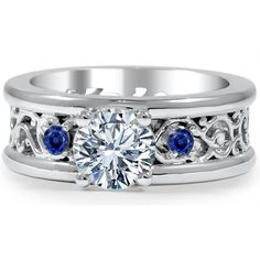 Engagement Ring -Three Stone Diamond-Sapphire Eternity Filigree... ($1,675) ❤ liked on Polyvore featuring jewelry, rings, diamond rings, diamond engagement rings, filigree diamond ring, 3 stone diamond ring and sapphire rings