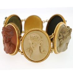 Victorian 18ct Yellow Gold and Lava Cameo Bracelet.