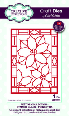 stained glass poinsettia ced3090