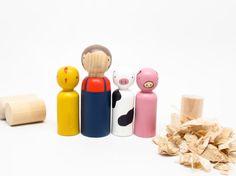 Goose Grease Farmer // Easter Egg Spring Dolls Chick Cow Pig // Fair Trade // Peg Dolls Modern - Wooden Toys