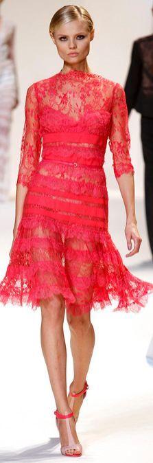 Elie Saab Spring/Summer 2013 Red Lace Dress
