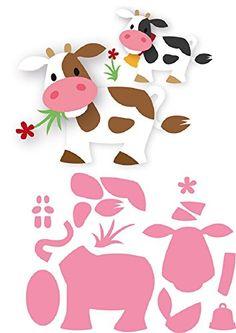 Marianne Design Collectables Eline's Cow Die, Metal, Pink, 21 x x cm Applique Templates, Applique Patterns, Craft Patterns, Felt Animal Patterns, Stuffed Animal Patterns, Felt Crafts, Diy And Crafts, Crafts For Kids, 3d Cuts