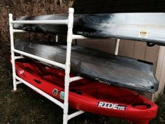 Kayak Storage Garage Build a Simple Kayak Rack From PVC. We built this for two kayaks. A few small modifications but over all awesome idea! Kayak Fishing Rod Holder, Sit In Fishing Kayak, Canoe And Kayak, Fishing Rods, Fishing 101, Boy Fishing, Fishing Stuff, Fishing Quotes, Canoe Trip