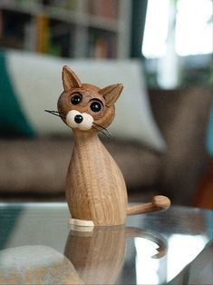 Lucky the cutest cat on earth!   Lucky is an unique handmade and hand-assembled product in wood and there may be some minor variations from product to product. Clean it with a damp cloth. For better finish and maintenance use beeswax occasionally on all our wooden products. Wooden Figurines, Wooden Toys, Wooden Bird, Wooden Animals, Centerpiece Decorations, Wood Design, Wood Turning, Altered Art, Wood Art
