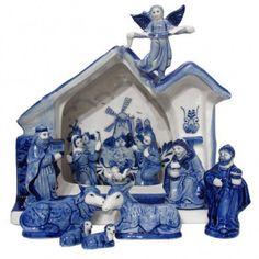 Delft blue nativity set