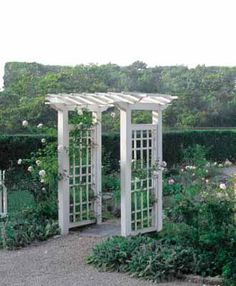 """Garden Arbor - Contemporary, cellular PVC pergola style arbor with 4"""" sq. posts and 4 1/2"""" sq. decorative carrying beams. 1 1/2"""" x 5 1/2"""" cross members with 1 1/2"""" sq. pergola lathing. 34 1/2""""D. Side fence panels sold separately. Prefinished white. Shipped Kit. Motor freight."""