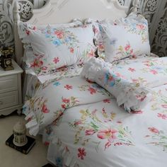 YY Luxury bedding set custom cotton Twill lace ruffle duvet cover embroidered flower bedding wedding bedspread home textile