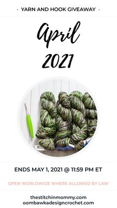 2021 April Yarn and Hook Giveaway Open Worldwide where allowed by Law. Void in Quebec. End Date: May 1, 2021; 11:59 pm ET. Giveaway not affiliated with Facebook, Pinterest or Instagram. #giveaway #crochet Crochet Yarn, Crochet Hooks, Instagram Giveaway, Yarn Colors, Quebec, Giveaways, Law, Facebook, Thread Crochet
