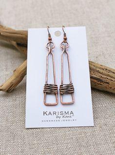Copper Rectangle Drop Earrings Oxidized by Karismabykarajewelry
