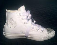 Custom Converse Wedding Shoes - Chuck Taylor All Star White Leather High-tops w/ Swarovski's