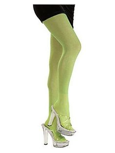 Lime Green Glitter Tights Adult