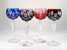 Bleikristall German Multi Color Cut to Clear Crystal Tall Wine Glasses Goblets