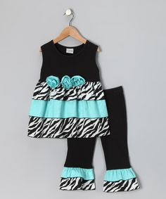 Take a look at this Black & Blue Zebra Rumba Top & Ruffle Pants - Toddler & Girls by AnnLoren on #zulily today!