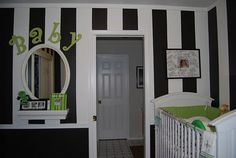 Baby room colors... lime green, black, and white. Reminds me of our wedding colors
