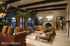 Wood Beams, Travertine, Living Room-Prime Equity Real Estate, Scottsdale AZ