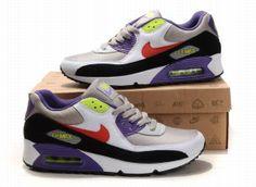 size 40 36af2 96d61 Nike Air Max 90 hommes chaussures de mode Blanc Violet Noir Rouge