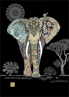 Decorative Elephant by Jane Crowther for Bug Art greeting cards. Embossd with delicate gold and blue foil.