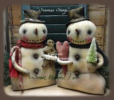 Primitive Doll Pattern Snowman Stumps by SweetMeadowsFarm on Etsy