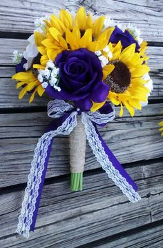 Sunflower Bouquet by SilkFlowersByJean 12in Sunflower Bridal Bouquet with 1 White Burlap Sunflower as the center flower with yellow sunflowers, purple & white roses, and babies breath breath wrapped in Natural Burlap with Regency Purple ribbon & White Vintage Style Lace Bow $95