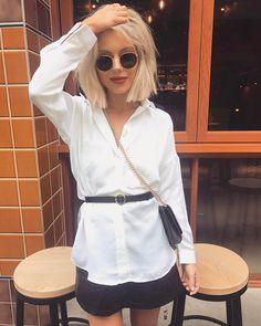 "4,027 mentions J'aime, 25 commentaires - Laura Jade Stone (@laurajadestone) sur Instagram: ""Love a good white shirt & leather skirt combo ✨ Wearing @petalandpup """