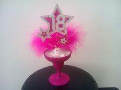 Glitter cocktail glass birthday cake topper any age available pink and silver  | eBay