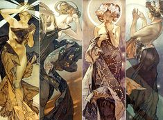 Moon and stars - Alphonse Mucha 1902
