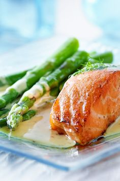 Roasted Salmon and Asparagus with Balsamic-Butter Sauce. 2 Protein 1 Carb 3 Fats