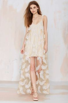 at nasty gal  Soft Feather Asymmetric Dress