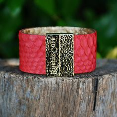 Attraction Red with Gold – Rustic Cuff
