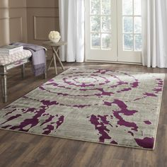 Safavieh Porcello Light Grey/ Purple Rug (3' x 5')