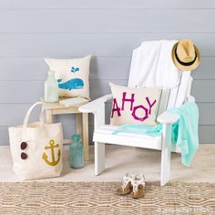 "Say ""ahoy"" to summer style with some sparkly DIYs! Create your own larger designs using glittery iron-on sheets and your Cricut machine."