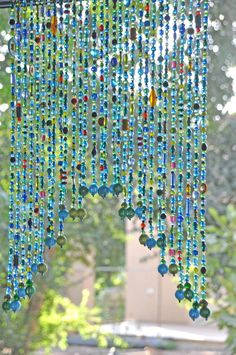 Beaded Valance Curtain for a door window or wall in Blue Turquoise Green shadows and touches of red yellow and orange – 2019 - Curtains Diy Boho Curtains, Beaded Curtains, Valance Curtains, Lace Valances, Rideaux Boho, Crystal Beads, Glass Beads, Glass Bead Crafts, Carillons Diy