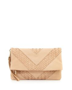 Fold-Over+Woven/Smooth+Clutch+Bag,+Sand+by+Christopher+Kon+at+Neiman+Marcus+Last+Call.
