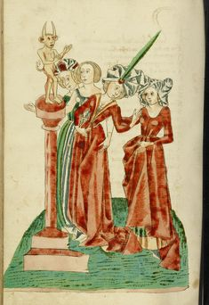 Four Women Before an Idol; Follower of Hans Schilling (German, active 1459 - 1467), from the Workshop of Diebold Lauber (German, active 1427 - 1467); Hagenau, Alsace, France (formerly Germany); 1469; Ink, colored washes, and tempera colors on paper; Leaf: 28.6 x 20.3 cm (11 1/4 x 8 in.); Ms. Ludwig XV 9, fol. 273v