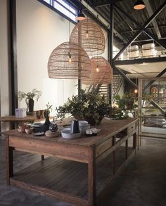 #wicker oversized #pendant x 3 by @hkliving in their brand new headquarters in #holland Best showroom on earth