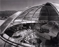 The interior of Bernard Judge's residence, Dome House, with the sliding roof open to demonstrate its passive solar principles.  Photo: Cou...