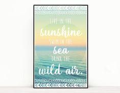 Quote Poster - Live in the sunshine, swim in the sea, drink the wild air - Ralph Waldo Emerson All Poster, Quote Posters, Song Lyrics Art, Ralph Waldo Emerson, Im Happy, All Art, Sunshine, Swimming, Sea